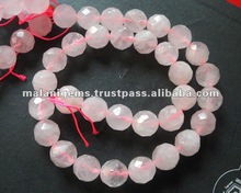 10 mm Natural Pink Color Rose Quartz Round Ball Facet Calibrated Loose Beads