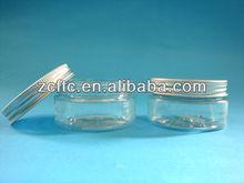 Aluminum screw lid PET cream jar, Empty PET cosmetic jar case