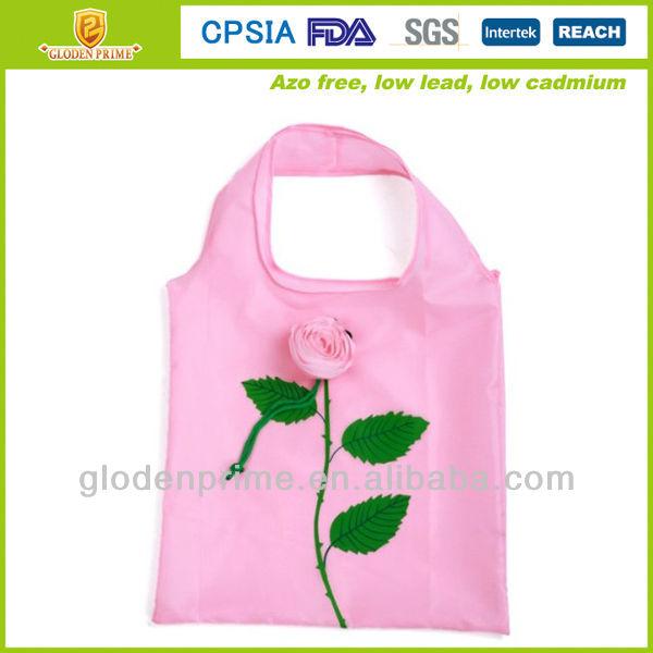 Hot promotional rose shape folding shopping bag