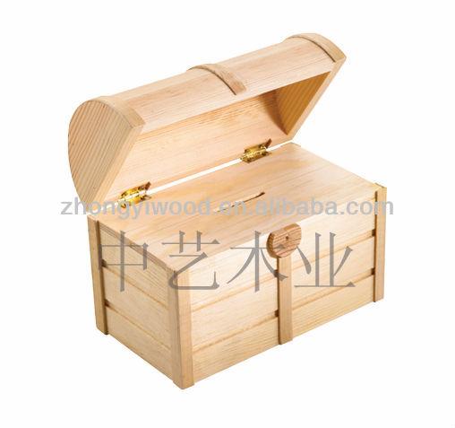 Unfinished Wood Treasure Chest ~ Large unfinished wood treasure chest with lid view
