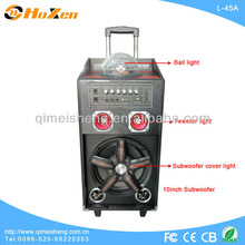 new products trolley portable audio speaker box with disco light USB,SD,FM Radio L-45A made in china