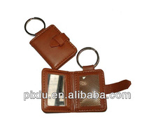 Promotional leather badge holder with key ring