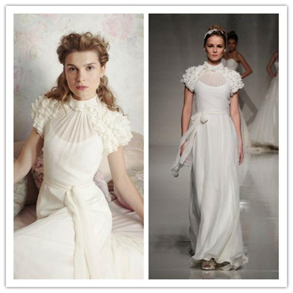 W0166 A-line High Neck Short Sleeve Ruffles Sashes Buttons Chapel Train Chiffon Wedding Dress Br ...