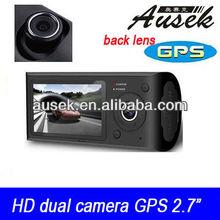 2.7inch (16:9) GPS google Map Dual Cameras car dvr camcorder