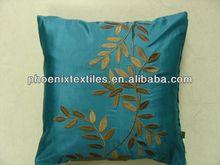 poly linen Phoenix flower embroidered pillow