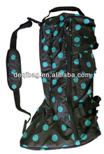 English Horse Riding Long Boot Carrying Travel Bag 420D Turquoise Polka Dots travel shoe bag storage hot sale