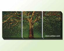 Handmade big trees blossom oil painting on canvas