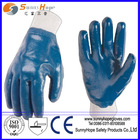 Smooth Finish fully dipped Blue Nitrile coated gloves