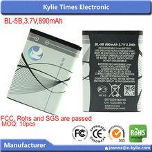 890mAh long backup mobile phone battery for nokia bl 5b