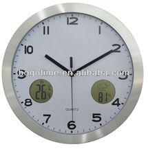 "BOGO 12"" radio controlled digital aluminum wall clock for elderly"