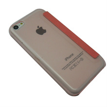 For iphone 5C Transparant crystal case and PU leather Combo case