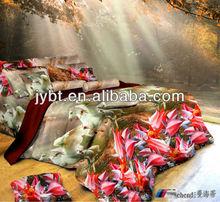 3d reactive printing floral design pink print quilt cover set bedding set, bed sheet set