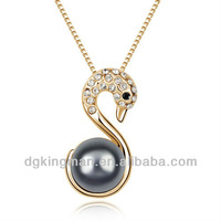 2013 Fashion Austrian Crystal Series Black Pearl Ankh Necklace