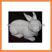 white stone rabbit garden statue closeout