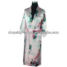 dropship Stylish Peacock Printed Imitated Silk Pajama Bathrobe Night Clothes Pajama sleepwear