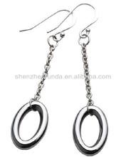 Fashion earrings for women jewellery silver plated stainless steel allergy free circular shape pendants Drop earrings