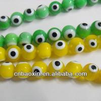 2014 Fashion Jewelry Ornaments Greek Yellow Round Plastic Evil Eye Beads