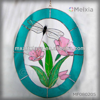 MF080205 china wholesale tiffany style stained glass panel wall hanging window decor for home decoration