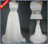 2013 Real sample one shoulder beaded chiffon beach wedding gowns alibaba wedding dresses R-W061