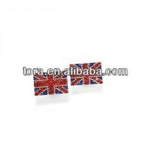 hot sale UK flag earrings paved shinning crystal stud earrings