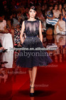 BO2272 Wholesale Round Neck Crystals Short See Through Celebrity Evening Dresses