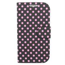 Wallet Stand Case for Samsung I9300 Polka Dot Black/Pink
