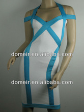 white and blue halter latest design for ladies's evening dress