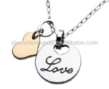 Lover two pendants stainless steel never fade allergy free fashion the men necklace jewellery