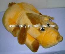 brown soft stuffed plush lying dog,plush toy dog with big eyes