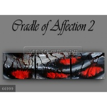 Handmade Modern Group thick paint heavy textured Abstract Oil painting on canvas,grey,red,black,cradle of affection 2