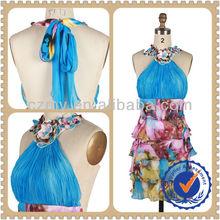 2014 European Fashion Spring Summer Printed Chiffon Dress Halter Women Dress