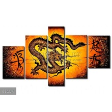 Handmade New Modern Group dragon oil painting, Decorative painting The power of the chinese dragon