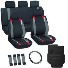 17pc Gray & Black Flat Cloth Seat Covers w/ Black Carpet Floor Mats for Car/Truck/Van/SUV