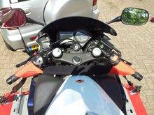 Motorcycle bar/steer harnass tiedown straps