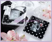 """Mod Dots"" Black and White Polka Dot Photo Coaster"