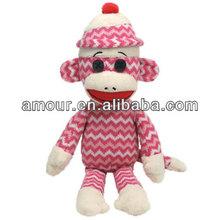 super cute SOCK MONKEY Plush doll Stuffed pink Monkey new product made in china