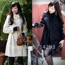 Double Breasted Wool Women's Coat Warm Long Lining Winter Jacket Black, White 3252