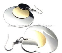 Circle disk silver plated gold plated Stainless steel for women drop dangle chandelier fashion earrings jewellery