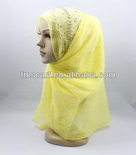 Stunning style lemon-yellow hand beaded georgette hijab