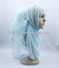 Stunning designed sky-blue hand beaded georgette hijab