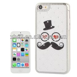 Funny Moustache Pattern Luxury Bling Diamond Plating Skinning Plastic Case for iPhone 5C