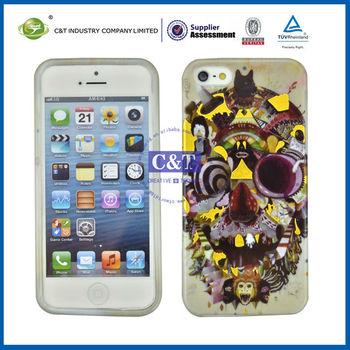 C&T TPU Unique Custom Skull Head cover for iphone 5