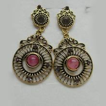 pink color resin stone stud earrings / drop earrings / stud earrings for girls code:EARTTW810