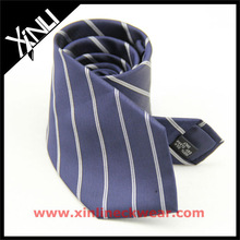 Dark Blue with White Stripe Silk Neckties Manufacturer