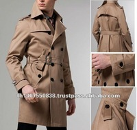 Yellowish New Fashion Woolen Men's Trench Coat