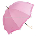 Dome parasol 565*8 ribs manual metal frame 190T polyester pongee ruffle trim leather wrapped aluminium curved handle umbrella