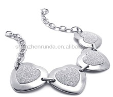 Stainless steel heart shape silver plated gold-plated 210*23*2mm size vogue for women bracelets jewellery