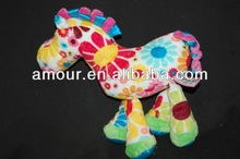 lovely! FLOWER PRINT HORSE doll multi color little pony doll STUFFED ANIMAL made in china kid toy 2014