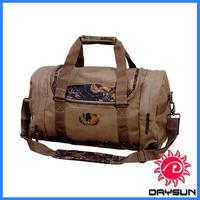 Camouflage Vintage leather trim Canvas duffel bag