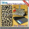 2013 New product Leopad wallet case for iphone 5C, for iphone 5c leather case